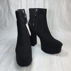 NWT Zara Black Vegan Suede Chunky Heel Ankle Boots